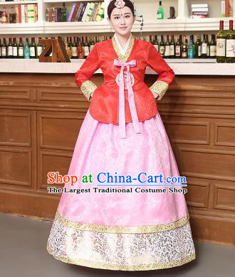 Korean Traditional Costumes Asian Korean Hanbok Palace Bride Embroidered Red Blouse and Pink Skirt for Women