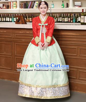 Korean Traditional Costumes Asian Korean Hanbok Palace Bride Embroidered Red Blouse and Green Skirt for Women