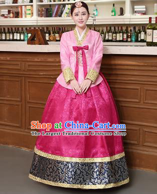 Korean Traditional Costumes Asian Korean Hanbok Palace Bride Embroidered Pink Blouse and Rosy Skirt for Women