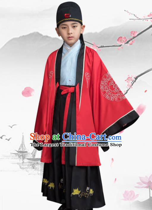 Traditional Chinese Ancient Scholar Costumes Han Dynasty Minister Clothing for Kids