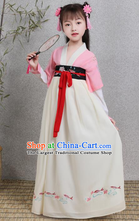 Traditional Chinese Ancient Princess Costumes Tang Dynasty White Hanfu Dress for Kids