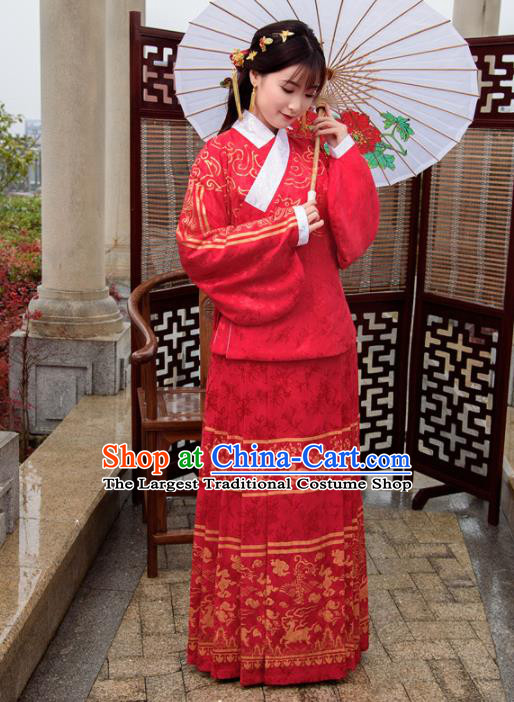 Traditional Chinese Ancient Hanfu Dress Ming Dynasty Princess Costumes Red Blouse and Skirt for Women