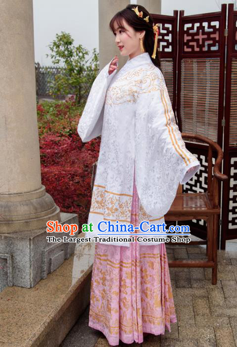 Traditional Chinese Ancient Ming Dynasty Palace Princess Costumes White Cloak and Pink Skirt for Women