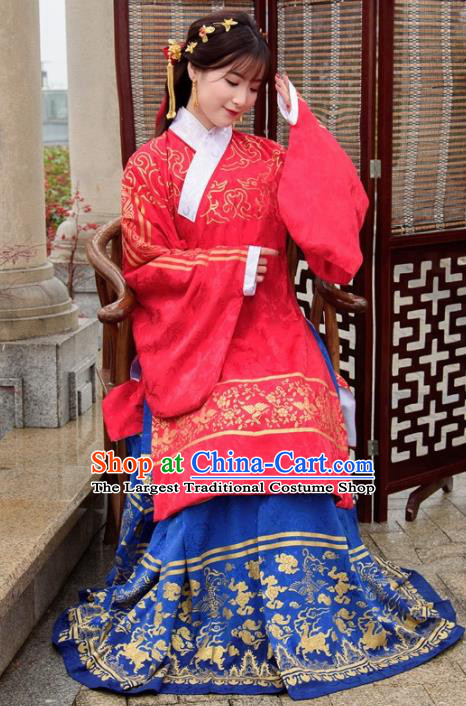 Chinese Ancient Palace Lady Hanfu Han Dynasty Imperial Concubine Queen Embroidered Costumes