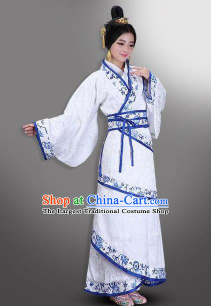 Chinese Ancient Han Dynasty Palace Princess Costumes Hanfu Curving-front Robe for Women