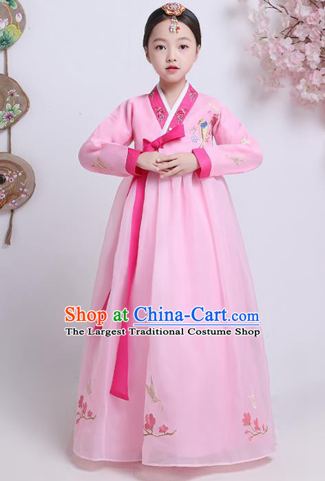 Asian Korean Traditional Costumes Korean Hanbok Pink Blouse and Skirt for Kids