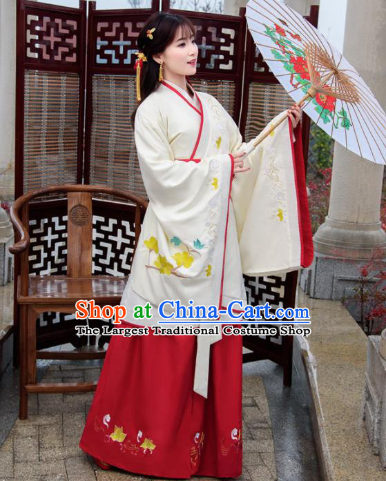 Traditional Chinese Ancient Hanfu Dress Han Dynasty Princess White Costumes for Women
