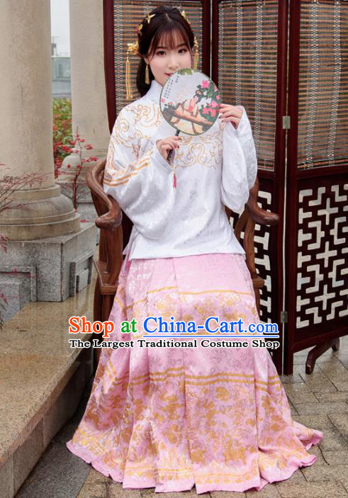 Traditional Chinese Ancient Hanfu Dress Ming Dynasty Princess Costumes White Blouse and Pink Skirt for Women
