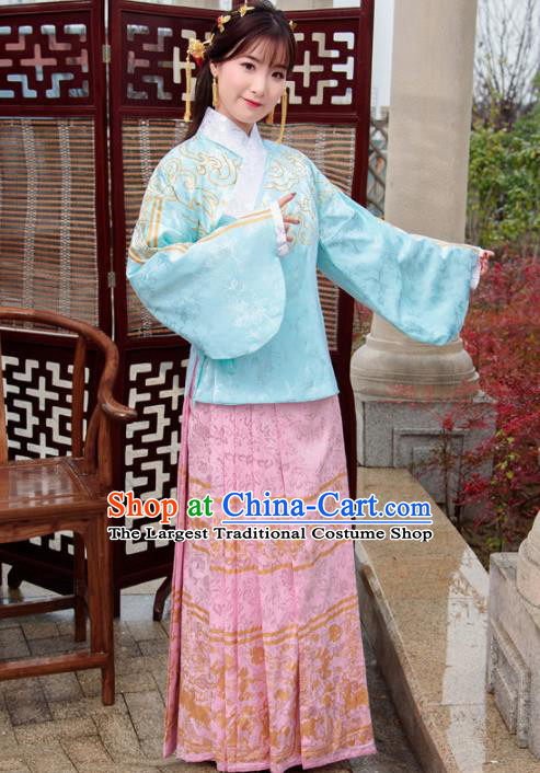 Traditional Chinese Ancient Hanfu Dress Ming Dynasty Princess Costumes Blue Blouse and Pink Skirt for Women