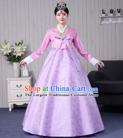 Traditional Korean Palace Costumes Asian Korean Hanbok Bride Pink Blouse and Lilac Skirt for Women