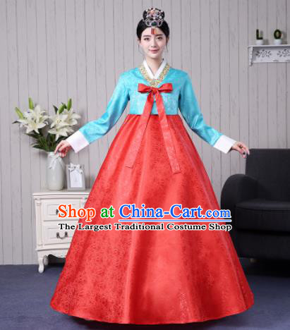 Traditional Korean Palace Costumes Asian Korean Hanbok Bride Blue Blouse and Red Skirt for Women