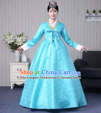 Traditional Korean Palace Costumes Asian Korean Hanbok Bride Blue Blouse and Skirt for Women