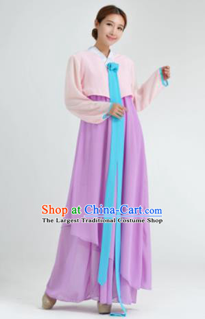 Traditional Korean Costumes Asian Korean Hanbok Pink Blouse and Purple Skirt for Women
