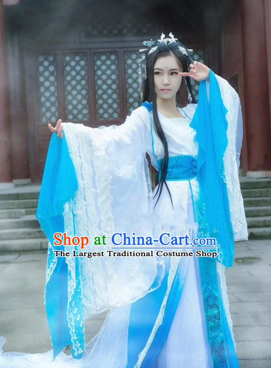 Chinese Ancient Cosplay Peri Swordswoman Blue Hanfu Dress Traditional Han Dynasty Princess Costume for Women