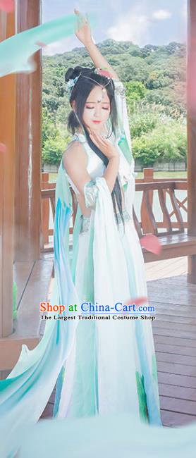Chinese Ancient Cosplay Peri Princess Green Hanfu Dress Traditional Tang Dynasty Swordswoman Costume for Women