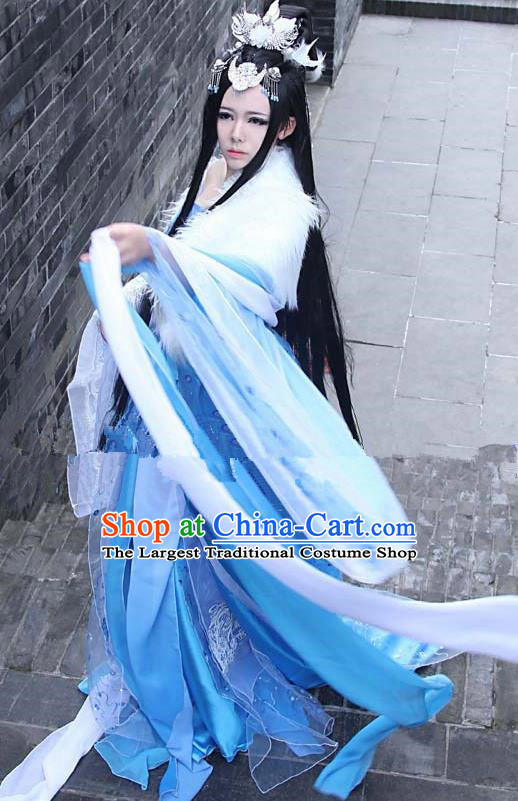 ca69c0319 Chinese Ancient Cosplay Peri Goddess Hanfu Dress Traditional Tang Dynasty  Imperial Consort Costume for Women