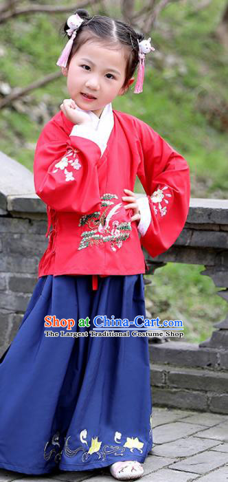 Traditional Chinese Ancient Ming Dynasty Costumes Red Blouse and Navy Skirt for Kids