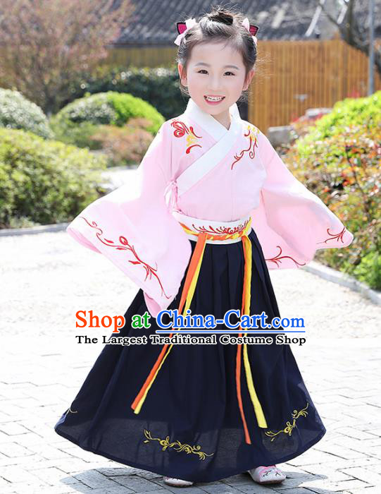 Traditional Chinese Ancient Ming Dynasty Costumes Pink Blouse and Navy Skirt for Kids
