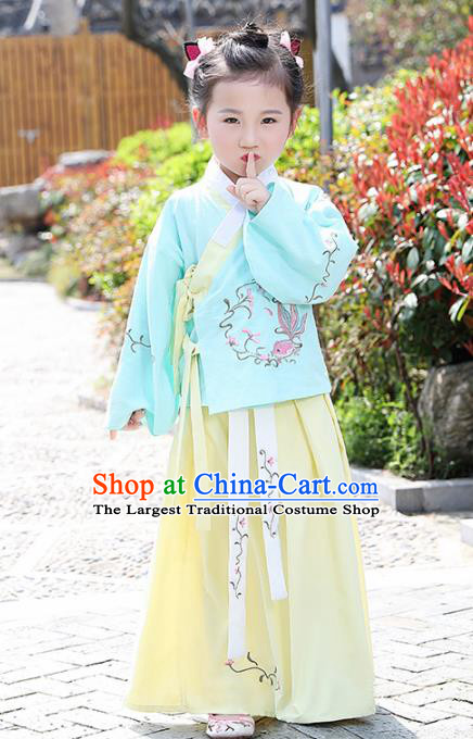 Traditional Chinese Ancient Ming Dynasty Costumes Blue Blouse and Yellow Skirt for Kids