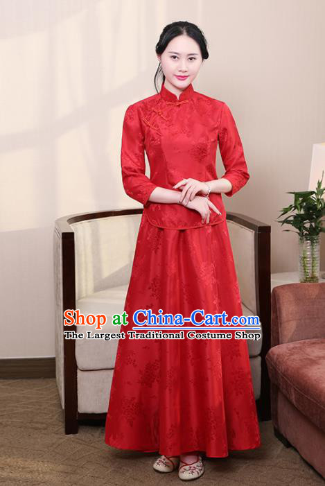 Chinese Ancient Nobility Lady Costumes Traditional Embroidered Red Qipao Blouse and Skirt for Women
