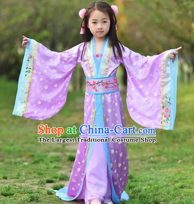 Chinese Ancient Tang Dynasty Princess Costumes Traditional Hanfu Dress for Kids
