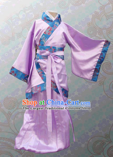 Chinese Ancient Fairy Lilac Hanfu Dress Han Dynasty Princess Costume for Kids