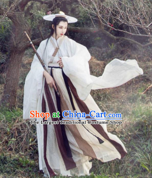 Chinese Ancient Swordsman Costumes Traditional Jin Dynasty Hanfu Dress for Women