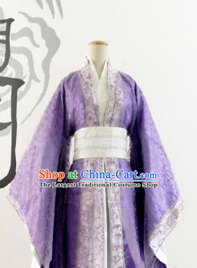 Chinese Ancient Cosplay Female Swordsman Purple Hanfu Dress Traditional Han Dynasty Imperial Consort Costume for Women