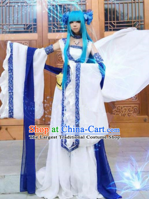 Chinese Ancient Cosplay Peri Swordsman Purple Hanfu Dress Traditional Han Dynasty Imperial Consort Costume for Women