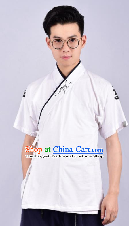 Chinese Ancient Swordsman Hanfu Costume Tang Suit White Shirt for Men