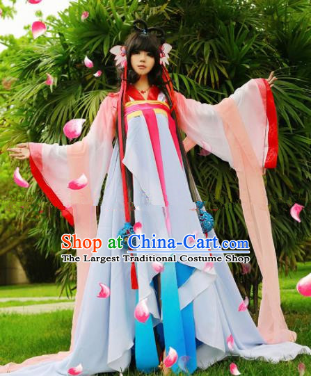 28ca2e10d Chinese Ancient Cosplay Peri Goddess Hanfu Dress Traditional Tang Dynasty Princess  Costume for Women