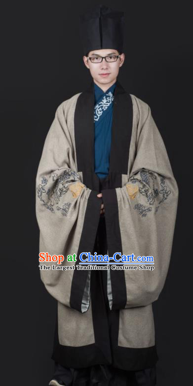 Chinese Ancient Cabinet Minister Grey Clothing Traditional Ming Dynasty Swordsman Costume for Men