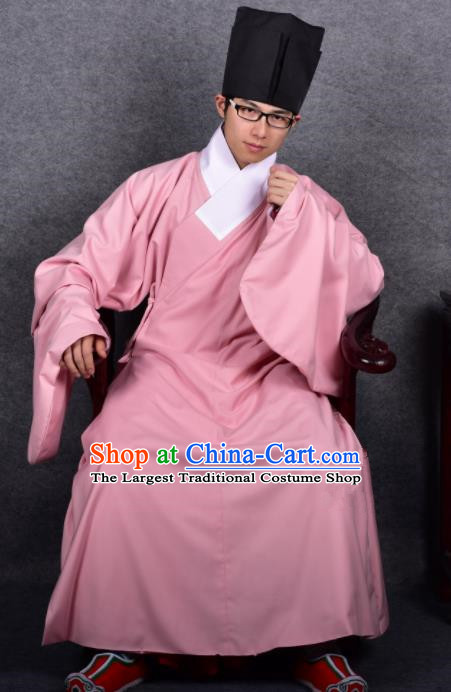 Chinese Ancient Taoist Pink Robe Traditional Ming Dynasty Minister Costume for Men