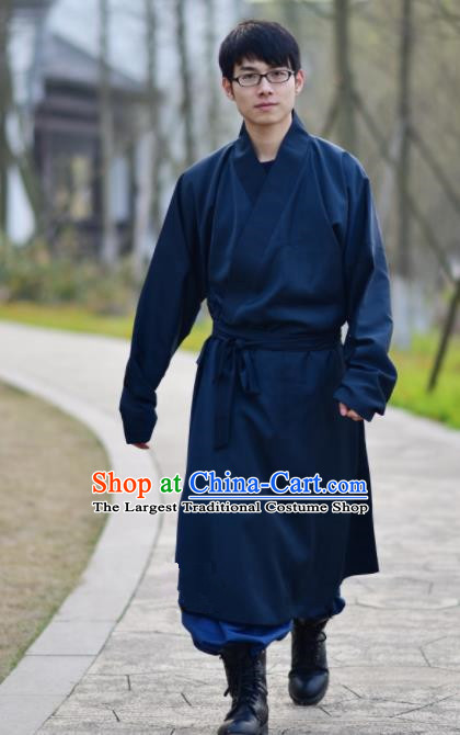 Chinese Ancient Traditional Ming Dynasty Taoist Priest Costume Monk Navy Robe for Men