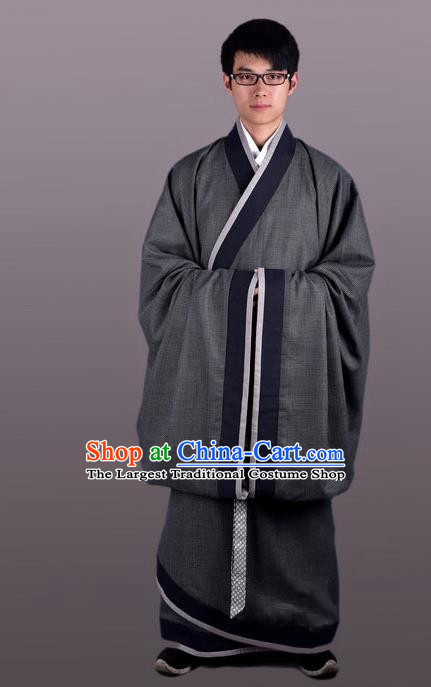 Chinese Ancient Traditional Han Dynasty Scholar Costume Curving-Front Robe for Men