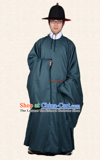 Chinese Ancient Traditional Ming Dynasty Minister Costumes Atrovirens Robe for Men