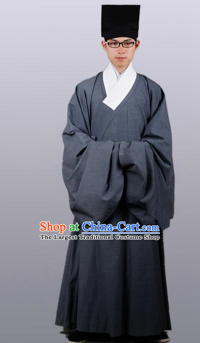 Chinese Ancient Traditional Grey Priest Frock Ming Dynasty Priest Costumes for Men