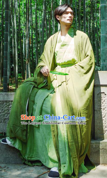 Chinese Ancient Traditional Jin Dynasty Scholar Swordsman Hermit Green Costumes for Men