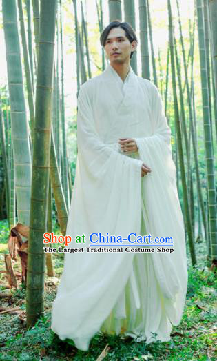 Chinese Ancient Traditional Jin Dynasty Scholar Swordsman Hermit White Costumes for Men
