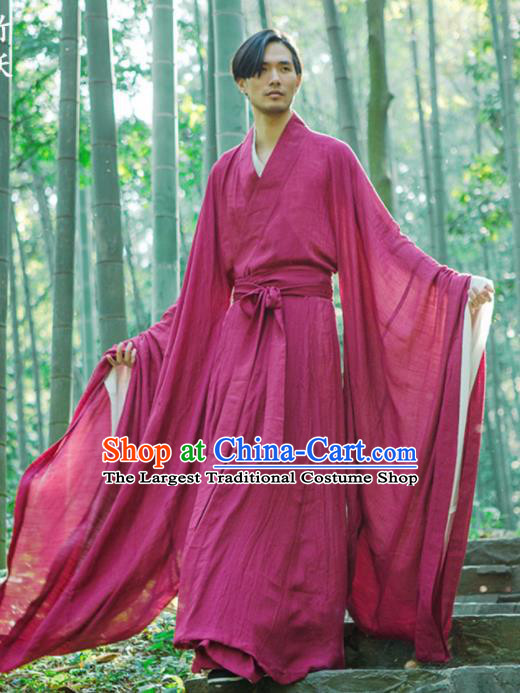 Chinese Ancient Traditional Han Dynasty Wine Red Cloak Scholar Swordsman Costumes for Men