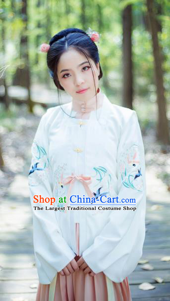 Chinese Ancient Nobility Lady White Blouse Traditional Ming Dynasty Costume for Rich Women