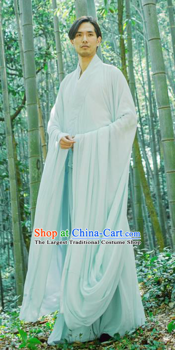Chinese Ancient Traditional Han Dynasty Light Blue Cloak Scholar Swordsman Costumes for Men