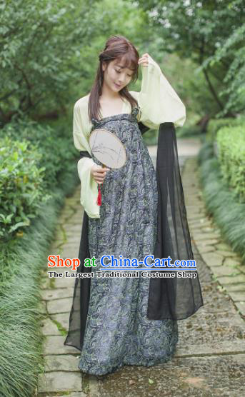 Traditional Chinese Tang Dynasty Maidenform Costume Ancient Princess Grey Hanfu Dress for Women