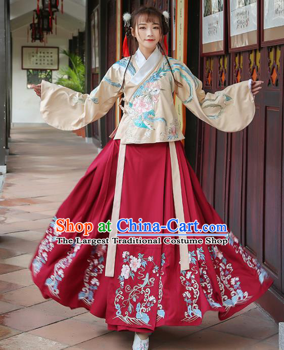 Chinese Ancient Ming Dynasty Princess Embroidered Costumes for Rich Women
