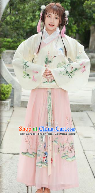 Chinese Traditional Ming Dynasty Princess Costume Ancient Embroidered Crane Hanfu Dress for Rich Women