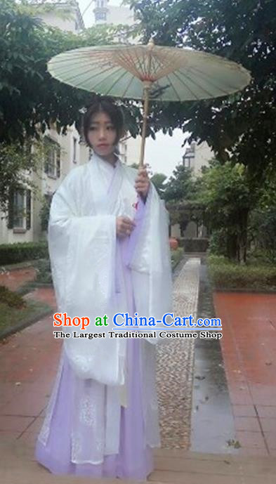 Traditional Chinese Jin Dynasty Nobility Lady Costume Ancient Embroidered Hanfu Dress for Women