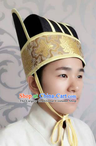 Traditional Chinese Ancient Minister Hat Han Dynasty Official Headwear for Men