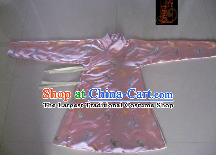 Traditional Chinese Ming Dynasty Costume Ancient Princess Embroidered Butterfly Pink Blouse for Women