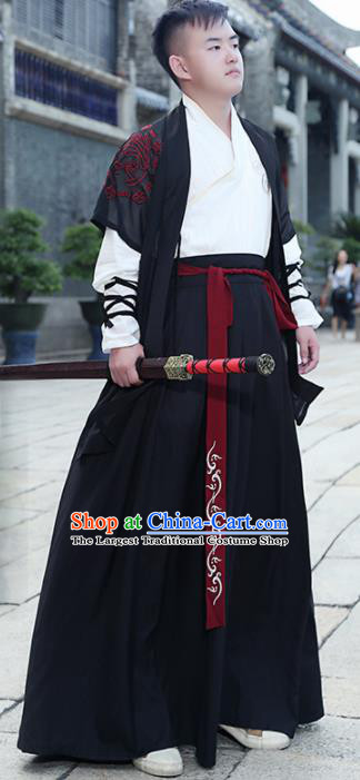 Chinese Ancient Traditional Han Dynasty Swordsman Costumes Complete Set for Men