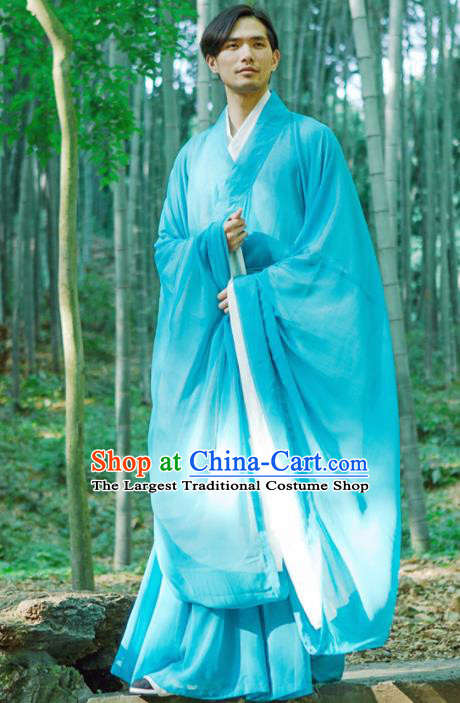 Chinese Ancient Traditional Han Dynasty Blue Wide Sleeve Robe Scholar Swordsman Costumes for Men